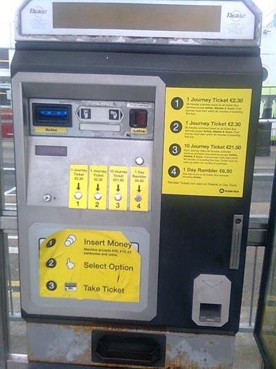 maquina tiquets autobus linea irlanda