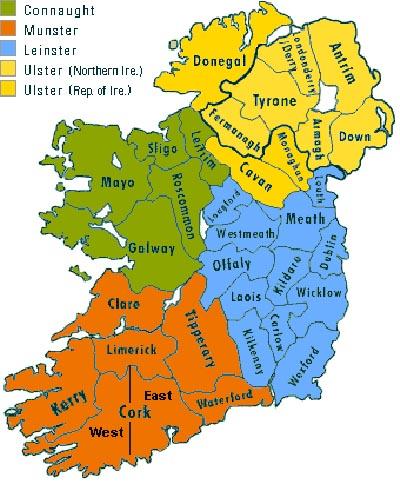 regiones provincias irlandesas