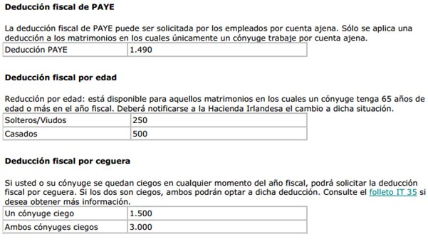 deduccion fiscal paye