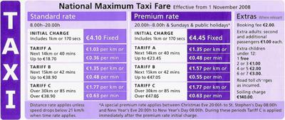 tarifas taxi irlanda
