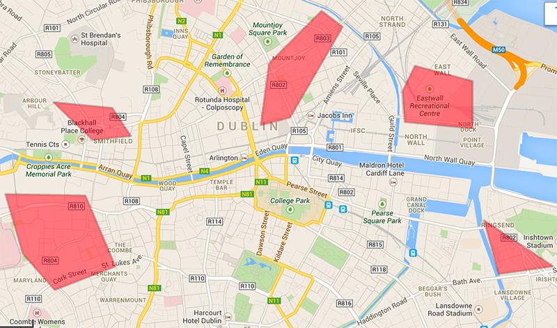distritos dublin mapa